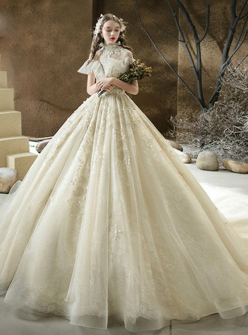 A Great Variety Of Champagne Tulle High Neck Cap Sleeve Appliques Beading Wedding Dress