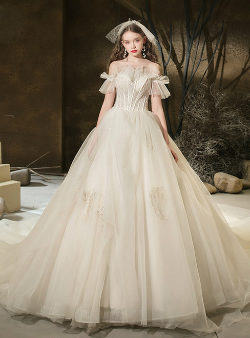 Demand Attention In Light Champagne Tulle Off the Shoulder Beading Wedding Dress