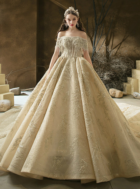 Order Your Ideal Drak Champagne Tulle Embroidery Off the Shoulder Beading Wedding Dress