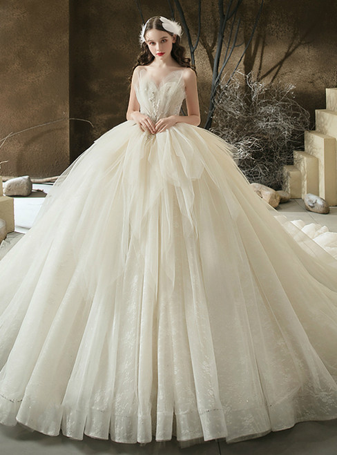 We Offer a Large Numbers Of Light Champagne Tulle Sweetheart Beading Wedding With Train
