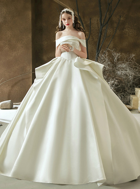Discover The Latest White Ball Gown Satin Off the Shoulder Pleats Wedding Dress With Long Train
