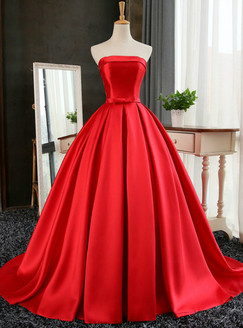 Red Ball Gown Long Satin Prom Dresses Red Prom Dresses  Red Party Gowns