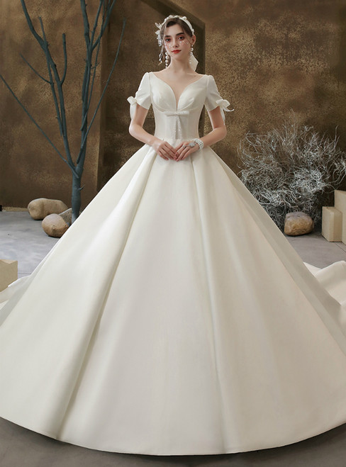 Purchase Your Favorite White Ball Gown Satin Short Sleeve See Through V-neck Wedding Dress