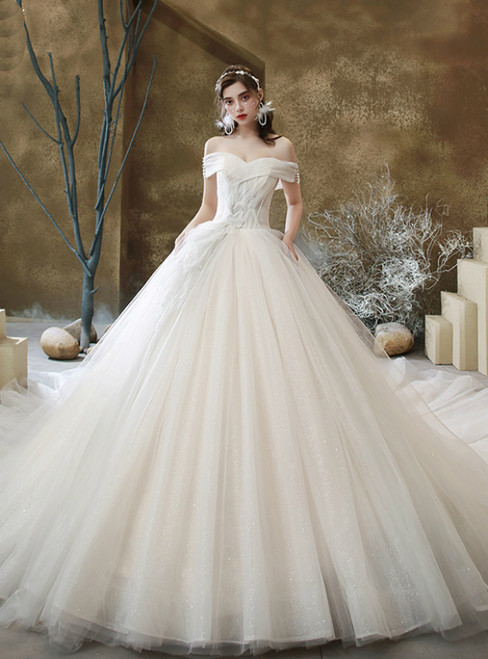 Light Champagne Tulle Off the Shoulder Pleats Wedding Dress With Train