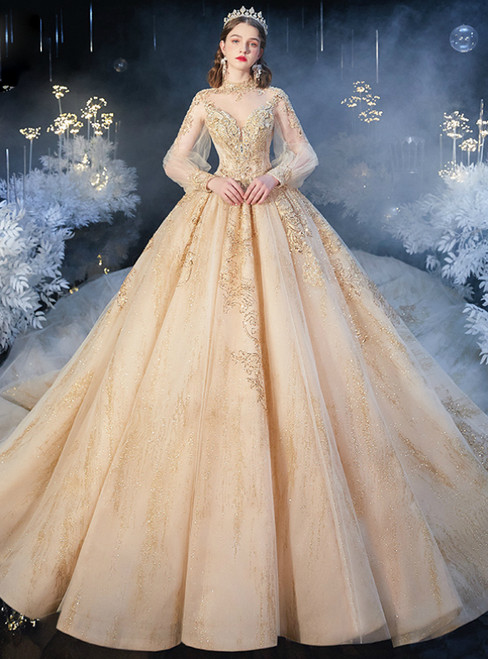 You Are Sure To Find The Perfect Dark Champagne Tulle High Neck Long Sleeve Beading Wedding Dress