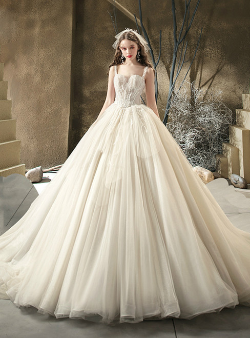 The Worldwide Shipping Online Store Light Champagne Tulle Straps Beading Wedding Dress With Train