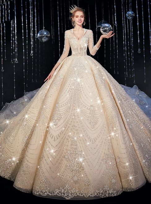 Available In Sizes 0-24 Dark Champagne Tulle Lace Appliques Deep V-neck 3/4 Sleeve Wedding Dress
