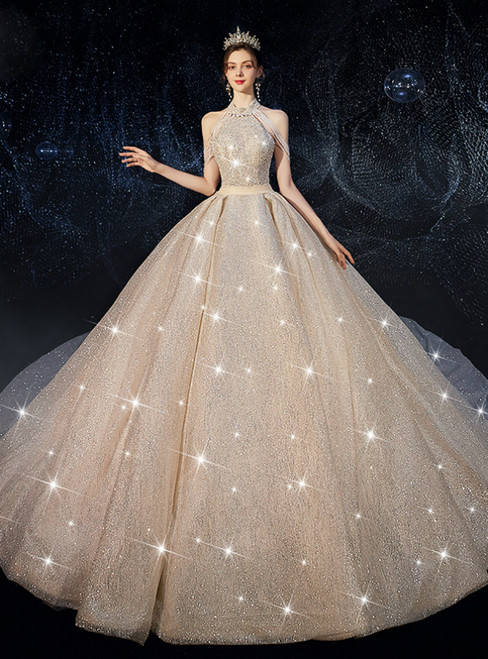 Come In All Styles And Colors Dark Champagne Tulle Sequins Halter Beading Open Back Wedding Dress