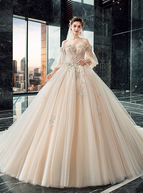 Find Your Dress For Prom! Dark Champagne Tulle Off the Shoulder Long Sleeve Beading Wedding Dress