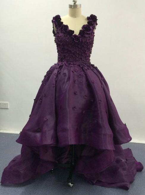 Elegant Purple Deep V Neck Appliqued Floral Short Front Long Back High Low Prom Dresses