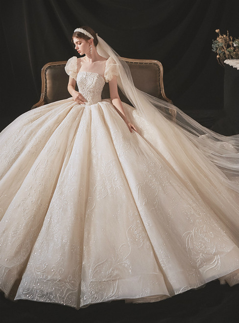 Is Now Available. Champagne Tulle Puff Sleeve Backless Beading Sequins Wedding Dress