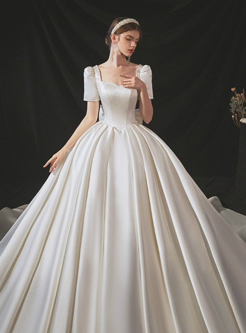 Shops Around The World White Ball Gown Satin Square Short Sleeve Pearls Wedding Dress