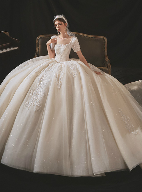 Check Out Entire Collection Light Champagne Tulle Sequins Backless Short Sleeve Wedding Dress