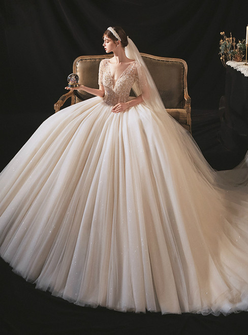 For This Year's Biggest Dance Chmapagne Tulle Deep V-neck Beading Sequins Wedding Dress