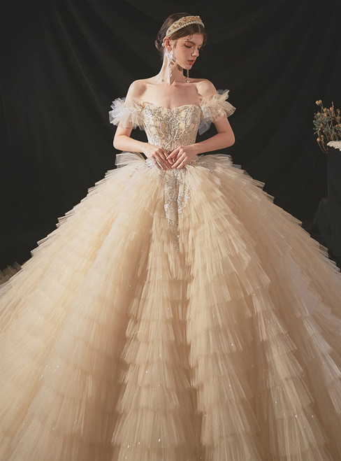 Make Your Prom a Dream Dark Champagne Tulle Tiers Off the Shoulder Beading Wedding Dress