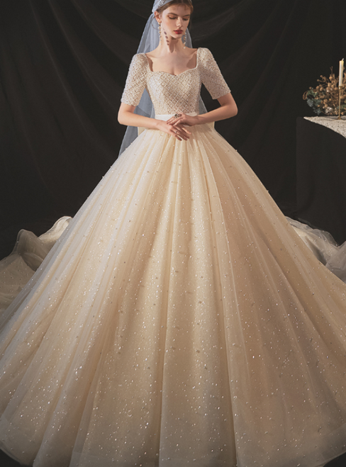 An Extra 40% Off Storewide Champagne Tulle Seuqins Square Short Sleeve Beading Pearls Wedding Dress