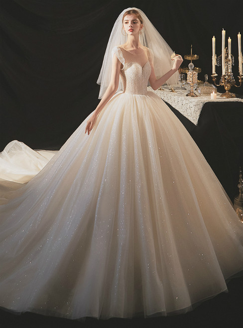 To Choose From Champagen Ball Gown Tulle Sequins Cap Sleeve Beading Wedding Dress