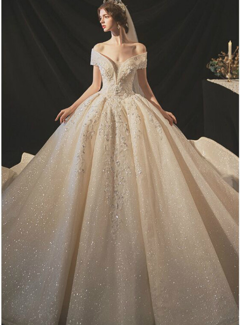 In One Step Luxury Tulle Seuqins Off the Shoulder Beading Wedding Dress