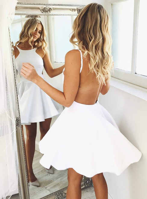 Short Backless Fit-and-Flare Semi-Formal Dress in White