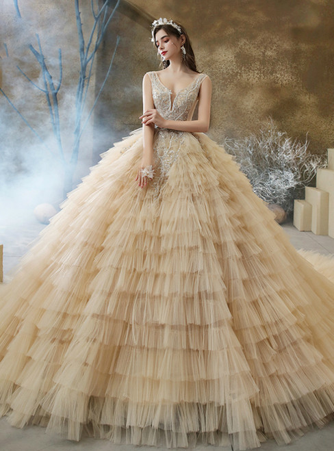Is a Rite Of Passage Dark Champagne Ball Gown Tulle Tiers V-neck Beading Wedding Dress