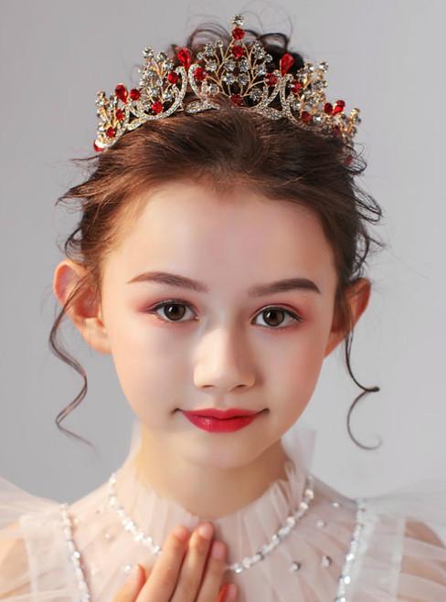 Crown Tiara Children's Princess Hair Accessories Red Tiara