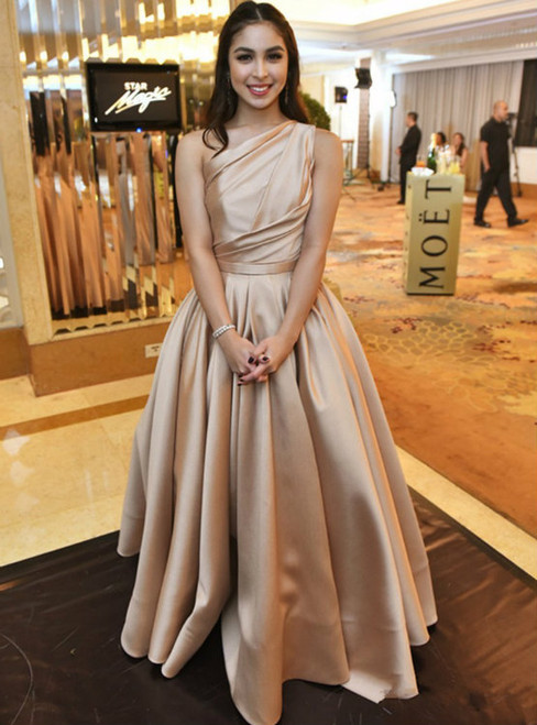 Simple Long One Shoulder Satin A-Line Prom Dresses Draped Ruched Pleat Court Train Floor