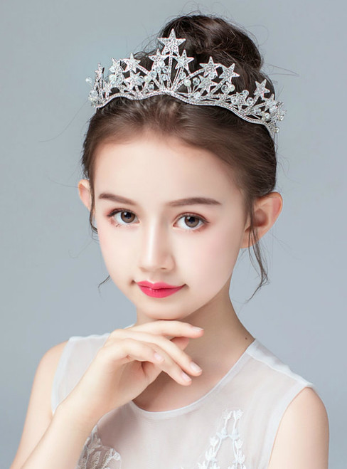 Children's Crown Headdress Princess Silver Star Tiara