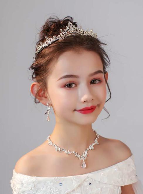 Crown Tiara Princess Crown Crystal Necklace Set Hair Accessories
