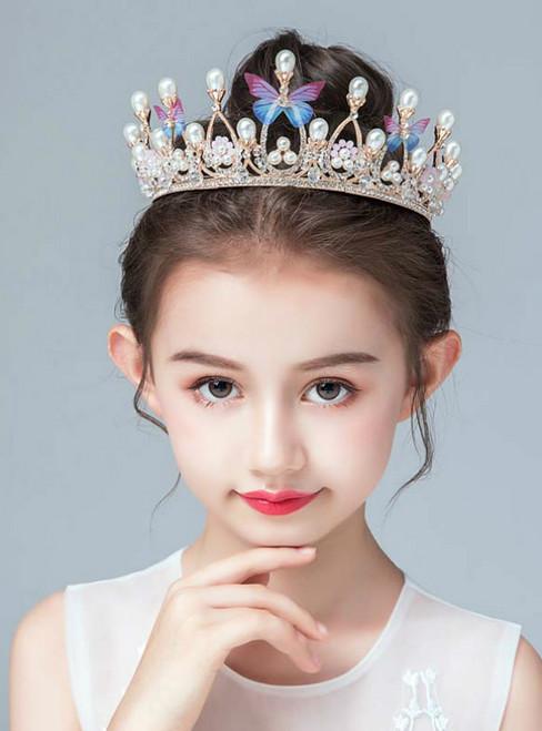 Crown Tiara Children's Princess Rhinestone Pearl Hairband