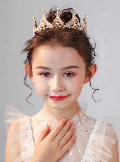 Crown Tiara Children's Princess Crystal Crown Big Round Crown
