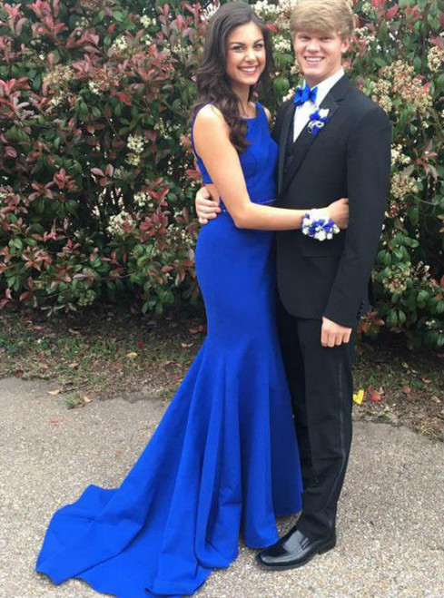 Royal Blue Sexy Backless Prom Dresses Elegant Beaded Crystals Court Train Satin