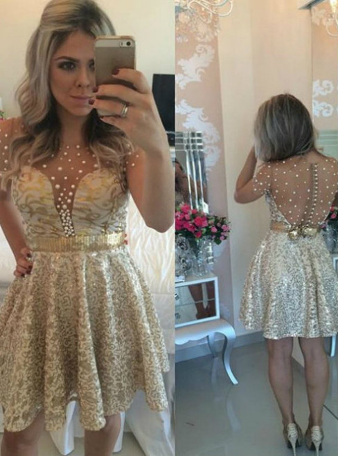 2017 Short A-line Zipper Round Glamorous Beading Short/Mini Homecoming Dress 2017 Dresses