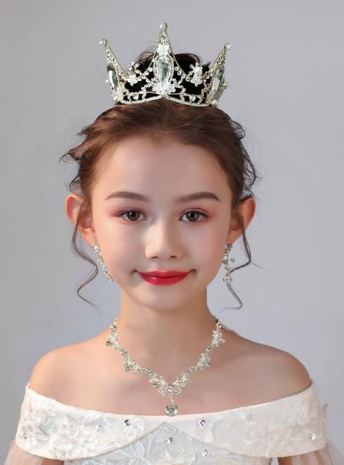 Crown Tiara Crown Baroque Retro 3 Piece Set Girls Accessories