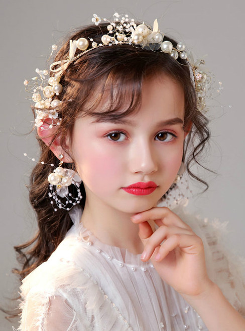 Children's Headdress Hair With Pearl Hair Accessories Earrings Set