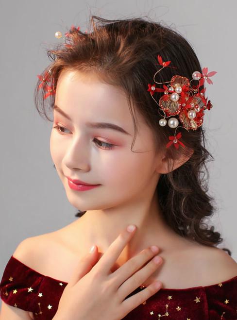 Children's Flower Girl Clip Red Pearls 2 Piece