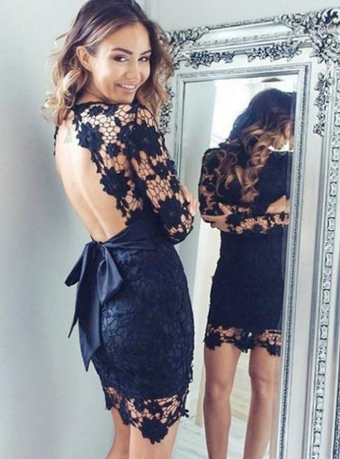 2017 Short Sheath Full sleeve Backless V-Neck Modern Sash Short/Mini Homecoming Dress