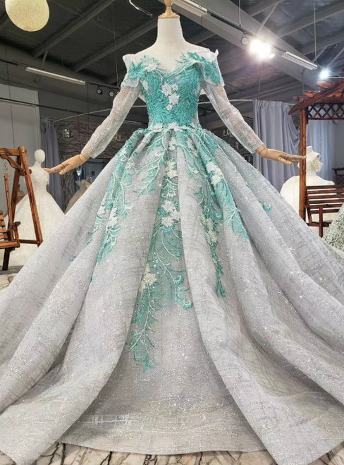 Shop For Cute Gray Ball Gown Sequins Long Sleeve Green Appliques Wedding Dress
