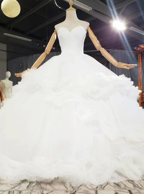 The Cheap Price White Ball Gown Tulle Sweetheart Pleats Sleeveless Wedding Dress