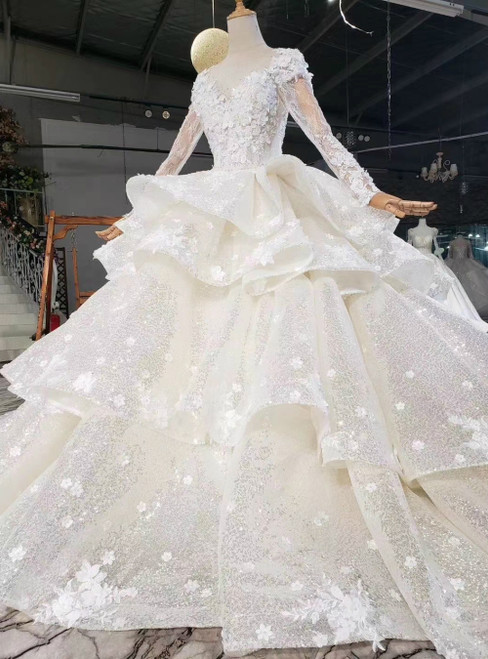 Light Champagne Sequins Long Appliques Beading Tiers Wedding Dress