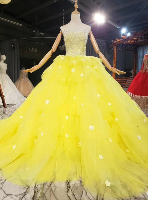 Yellow Ball Gown Tulle Sweetheart Beading Sleeveless Prom Dress
