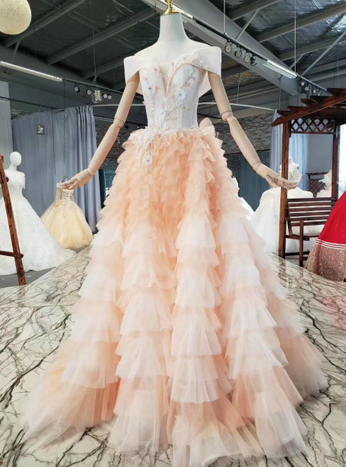 Enjoy The Orange Tulle Sequins off the Shoulder Appliques Beading Prom Dress