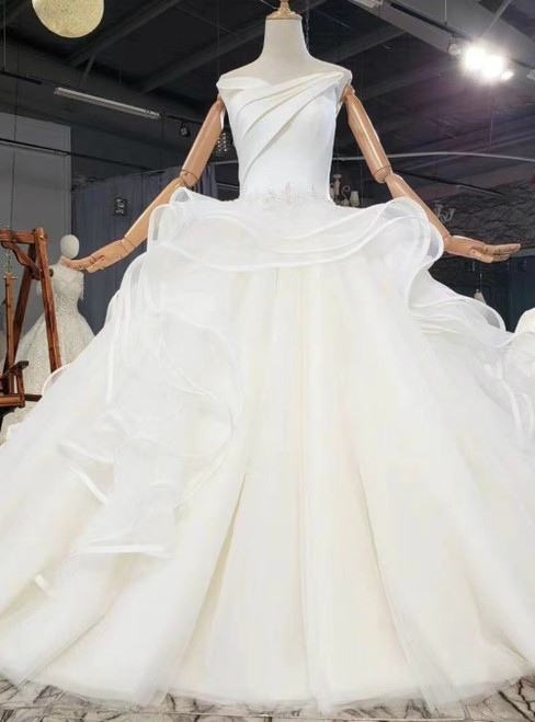 We Specialize In Custom Made Ivory White Ball Gown Tulle Satin Strapless Pleats Appliques Wedding Dress