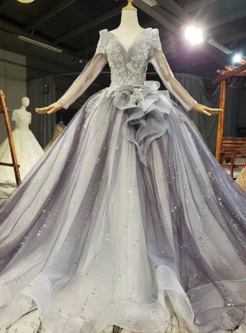 Brand New Gray Tulle Sequins Long Sleeve Appliques Beading Prom Dress