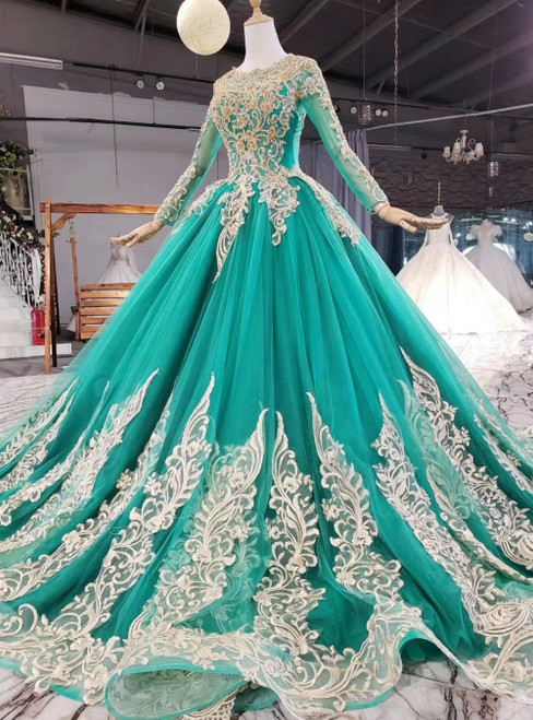 Green Ball Gown Tulle Appliques Long Sleeve Appliques Beading Sequins Prom Dress