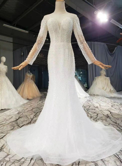 Find And Buy The Perfect White Mermaid Tulle Long Sleeve Pearls Wedding Dress With Removable Train