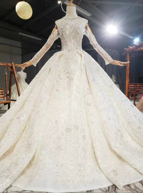 Get An On-Trend Chmapagne Ball Gown Tulle Halter Appliques Beading Wedding Dress With Train