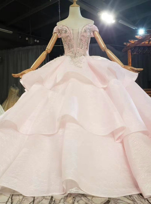 Get a Prom-Ready Look Pink Ball Gown Tulle Off the Shoulder Beading Tiers Prom Dress