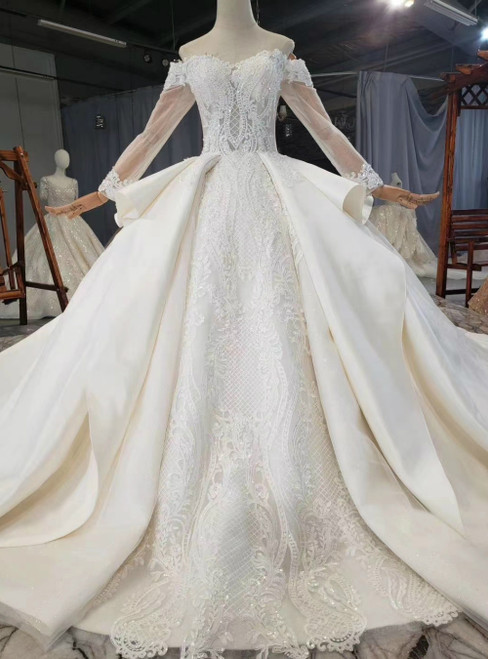 Shop Long Light Champagne Ball Gown Satin Off the Shoulder Long Sleeve Beading Wedding Dress