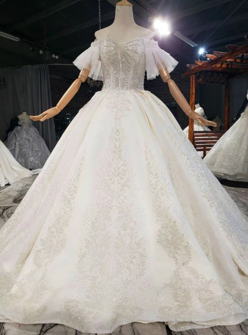 Be The Prom Queen In Champagne Ball Gown Tulle Sequins off the Shoulder Beading Wedding Dress