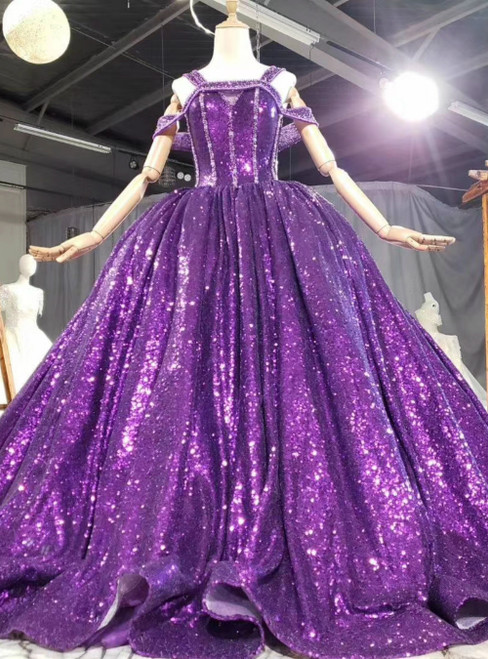 Shop Designer Purple Ball Gown Sequins Straps Beading Prom Dress With Shawl
